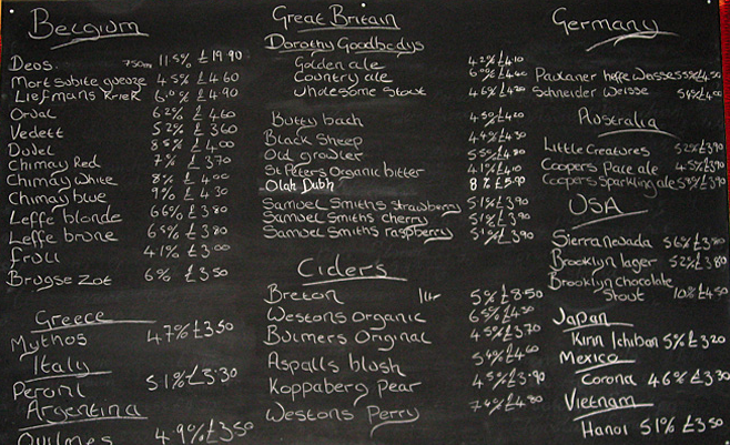The Beer list at The Carpenters Arms