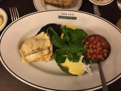 Halloumi, Mushroom, Eggs, Avacado, Beans and Tomato - Vegetarian Full English, The Ivy Market Grill