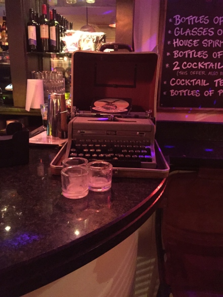 The typewriter on the bar at Simmons