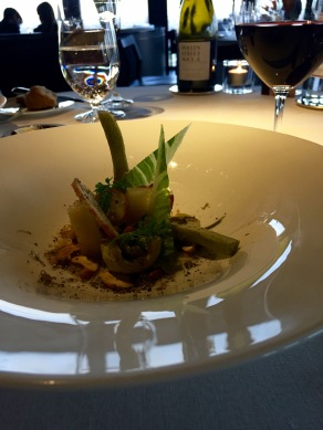 Violet Artichoke and Black Truffle, Parsley Root, Celeriac Crumble, Cashew and Celeriac Juice at City Social