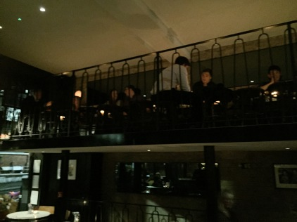 A Verenda of sorts extends above the main bar in the Gallery at West Hampstead