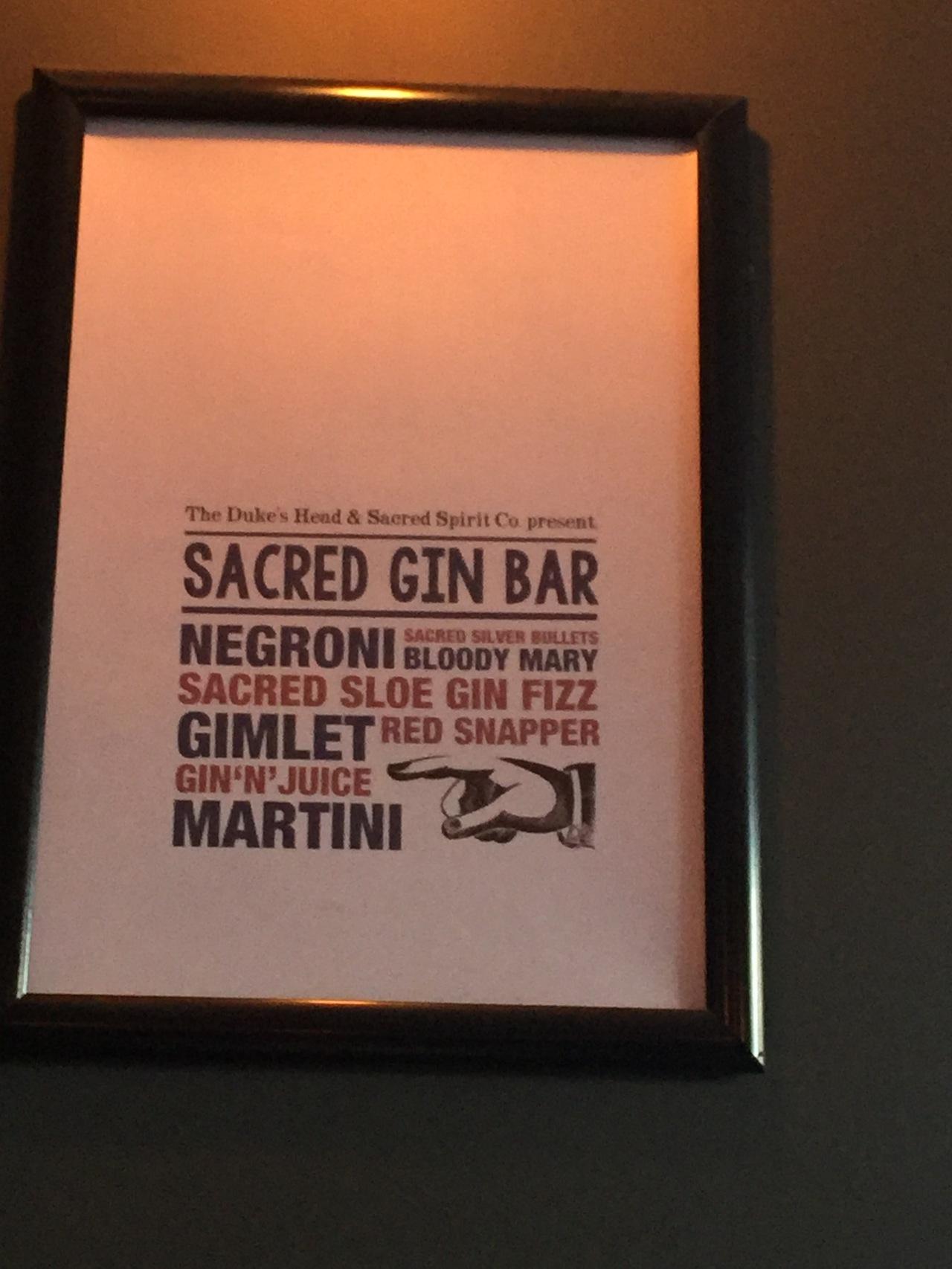 The Sacred Gin Bar at The Duke's Head