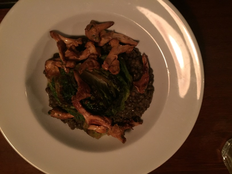 Girolle mushrooms, iceberg lettuce and lentils